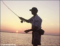 The saltwater flats near Aransas Pass and Port Aranasas are a mecca for flyanglers hoping to hook redfish or speckled trout.